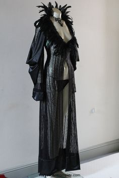 Deluxe Black Lace Robe Feathers Gown Lingerie Vintage by chrisst, $599.00
