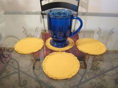 Linen Fabric Drink Coasters Mug Rugs - Round Fringed Coasters - Set of 4 - Boho Chic - Made To Order - Mustard Aqua Teal Lavendar Olive by VKVDesigns on Etsy