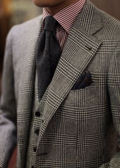 Grey prince of Wales plaid 3 piece suit, wool tie, maroon Bengal stripe shirt, pocket square