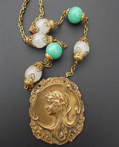 Art nouveau Necklace Peking Green Glass Greek Grecian by LilisGems