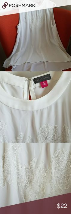 Beautiful semi sheer top Sleeveless white top. Worn only once. Vince Camuto Tops Blouses