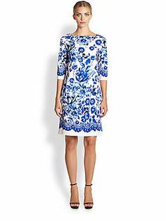 Oscar de la Renta Three Quarter-Sleeve Floral Dress - like this