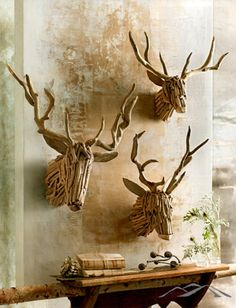 Driftwood Deer Head. Handsome deer are hand-crafted from natural driftwood. Heads look great on their own or festooned with twinkle lights. Each is unique by nature. Rustic Christmas Decorations. Natural Christmas. Country Christmas. Simple Christmas. Mountain Christmas.