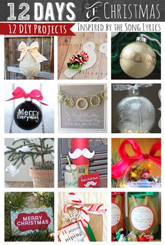 12 DIY Holiday projects inspired by the twelve days of Christmas Song Lyrics- Lovely !