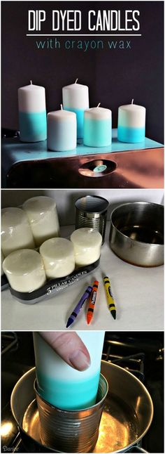 Create stylish candle DIY decor by dressing up plain pillar candles with a craft supply you already have in your home, crayons!