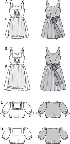smart dirndl dresses, showing the characteristics of their kind: square décolleté and fancy lacing, gathered, wide skirts (a short, b covering the knee), short dirndl blouses with puff sleeves and aprons.