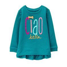 Toddler Girls Deep Teal Ciao Bella Top by Gymboree Toddler Girl Outfits, Kids Outfits, Toddler Girls, Deep Teal, Gymboree, Affordable Fashion, Kids Fashion, Graphic Sweatshirt, Sweatshirts