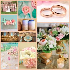 rose gold teal pink wedding color ideas!