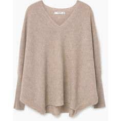 100% Cashmere Oversize Sweater ($105) ❤ liked on Polyvore featuring tops, sweaters, basics, v neck sweater, brown v neck sweater, 3/4 sleeve sweaters, v-neck tops and pure cashmere sweaters