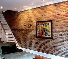 Brick Basement Wall. If basement walls are originally brick instead of poured concrete, leave them as is for a chic loft like look. Concrete walls could be covered with faux brick treatment. http://hative.com/basement-wall-ideas/