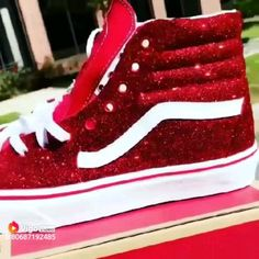 Candy Cane Vans ( comment what you think) Bedazzled Shoes, Bling Shoes, Glitter Shoes, Sock Shoes, Vans Shoes, Shoe Boots, Custom Painted Shoes, Custom Shoes, Cute Vans