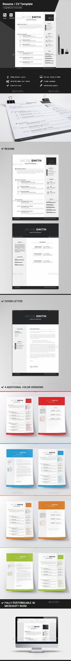 CV Word Ai illustrator, Cv template and Modern resume - resume on word