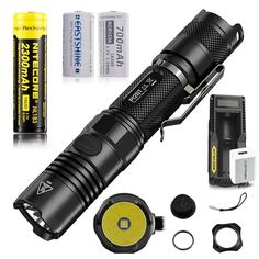 Bundle: Nitecore P12GT CREE XP-L HI V3 1000 Lumens Compact Tactical Flashlight by 2300mah 18650 2Pcs 700mAh 16340 EASTSHINE E07 Battery UM10 Charger -- Review more details here : Camping stuff