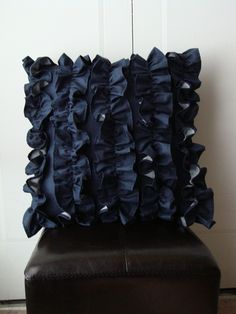 the navy ruffle will be at the top of my design Fancy Black Dress, Accent Pillows, Throw Pillows, Ruffle Pillow, Arts And Crafts, Diy Crafts, Decor Ideas, Craft Ideas, Pillow Talk