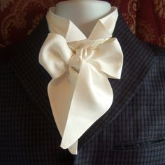 Victorian Ties and Cravats | Victorian Bow Tie Cravat Ascot in Natural White 100% Dupion Silk