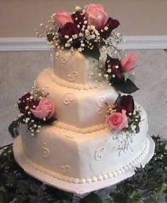 Pink Roses Heart Shaped Wedding Cake