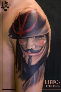 Tattoos V For Vendetta Tattoo Designs Pictures Tribal New Tattoos, Tattoos For Guys, Cool Tattoos, Tatoos, Movie Tattoos, Mask Tattoo, Tattoo Henna, V For Vendetta Tattoo, Guy Fawkes Mask