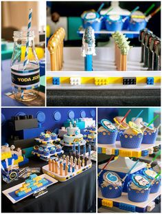 A Star Wars Legos & Lightsabers Party {Ideas, Supplies, Decor} - Awesome Party Ideas - Lego Star Wars Party, Theme Star Wars, Lego Birthday Party, Star Wars Birthday, 6th Birthday Parties, 8th Birthday, Birthday Ideas, Aniversario Star Wars, Party Fiesta