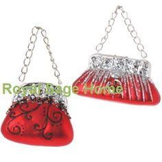 RAZ Purse Pocketbook Handbag Glass Christmas Ornament