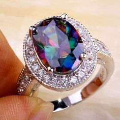 Rainbow & White Cz Silver Plated Ring
