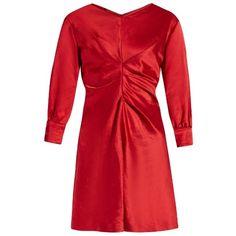 Isabel Marant Rad V-neck satin dress (£260) ❤ liked on Polyvore featuring dresses, red, 1980s dresses, v neck dress, 80s dress, red satin dress and ruched satin dress