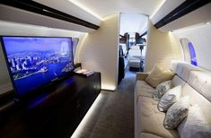 Inside the largest ever private jet complete with four luxury living areas, including master bedroom and en suite