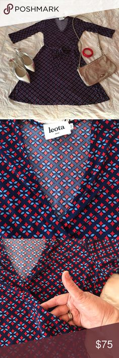 """NEW LISTING!!! NWT Leota print dress By NYC designer brand Leota. Handmade. Never worn. Excellent condition. Measurements lying flat: (unstretched) bust 18"""", waist 14"""", hips 21"""". Length from shoulder to hem: 33&1/2"""". Material is very stretchy. Leota Dresses"""