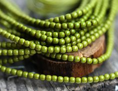 Faux pearls, czech beads, Full Strand - Wasabi green, olive green - tiny spacers, round, druk - 2mm - 150Pc - 1535