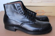 VTG 1950s Deadstock Air-O-Magic Captoe Dress Boots Shoes 6.5 E Box USA Black  in Clothing, Shoes & Accessories, Men's Shoes, Boots | eBay
