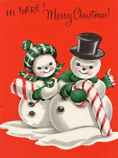 """Hi there!  Merry Christmas!"" A snowman couple stand against a red background.  She has a candy cane muff and he has a candy cane ... cane. Calsidy Rose on flickr."