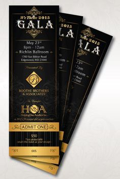 Bookmark Gala Tickets - black and gold Ticket Invitation, Save The Date Invitations, Invitation Design, Invites, Flyer And Poster Design, Ticket Design, 50th Wedding Anniversary Decorations, Sweet 16 Party Favors, Pastor Anniversary