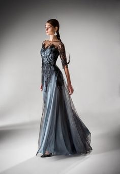 Style is a fantasy infused option. The vine-like black embroidery covers the shoulders, bodice, and down the skirt. Dress Outfits, Fashion Dresses, Dress Up, Modest Fashion, Fashion Clothes, Evening Dresses, Prom Dresses, Formal Dresses, Blue Wedding Dresses