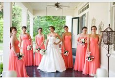 Coral wedding party
