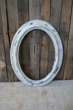 Large Vintage White Oval Shabby Chic Picture Frame by vintapod