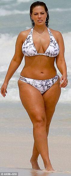 Bikini fun: Ashley wore a playful patterned two piece swimsuit...