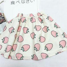 japanese fashion egg strawberry ice cream sweatshirt skirt suit - Thumbnail 3
