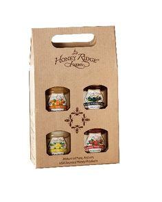 Honey Cremes, Honey Gift Crates, Foodservice, Artisinal Honey Vinegars, and Honey Recipes from Honey Ridge Farms Sugar Packaging, Honey Packaging, Glass Packaging, Food Packaging Design, Packaging Design Inspiration, Gift Crates, Kolaci I Torte, Jar Design, Cardboard Packaging