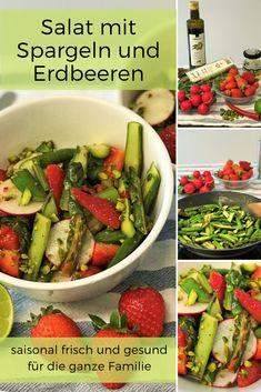 Rezept für Salat mit Spargeln und Erdbeeren - saisonal frisch und fein. Wir liefern euch Ideen, wie ihr jeden Monat mit Gemüse und Früchten aus der Schweiz viele neue Gerichte zaubern könnt. Wie zum Beispiel einen feinen Spargelsalat mit Erdbeeren im Mai, den ihr einfach und schnell für die ganze Familie zubereiten könnt.  #Spargel #Erdbeeren #Salat #LaCucinaAngelone #DieAngelones Food Art, Green Beans, Monat, Vegetables, Foodblogger, Dressing, Healthy Salads, Fruits And Vegetables, Kid Cooking