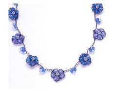 Blue Crystal Necklace  Forget Me Not Necklace by ChayaGallery, $68.00