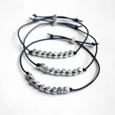 It's easy to make these bracelets with geometric silver beads.