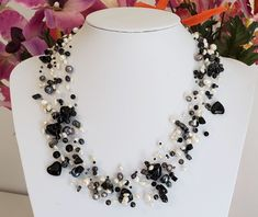 Floating layer multistrand choker statement Necklace genuine white freshwater pearl beads Black Onyx, Hematite 21 inch illusion cord White Freshwater Pearl, Baroque Pearls, Pearl Beads, Black Onyx, Beautiful Necklaces, Heart Shapes, Illusions, Cord, Handmade Jewelry