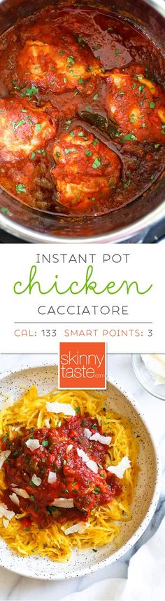 Chicken Cacciatore made in an Instant! The sauce is hearty and chunky, loaded with chicken, tomatoes, peppers and onions ( sometimes I add mushrooms too!) Great over pasta, roasted spaghetti squash, rice or polenta. I also have a slow cooker chicken cacciatore and stove top version. #chickencacciatore #instantpotchickencacciatore #pressurecookerchickencacciatore #weightwatcherschickencacciatore #chickencacciatorerecipe