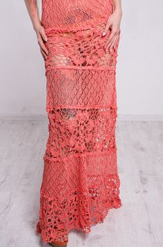 Crochet dress Crochet maxi sundress coral by CrochetDressTalita