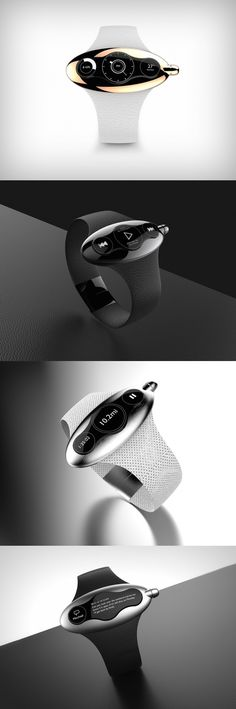 The Ergo watch has a single screen, but it's unique design allows it to split into three different units while displaying information. #Watch #Ergo #Unique #Design #Modern #Style #Technology #YankoDesign