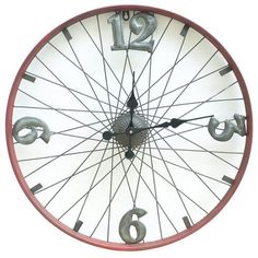 Evergreen Bicycle Wheel Metal Clock - The Home Depot
