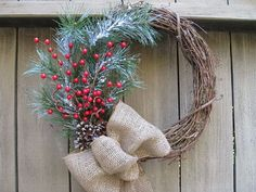 Christmas Wreaths - Door Wreath with Pine, Red Berries, Pinecones and Burlap - Winter Wreath - Christmas Decoration - Rustic Wreath for Holiday Decor by AWorkofHeartSA, $60.00  This Christmas Wreath of pinecones, berries, and greenery will add a seasonal touch to your holiday decorations!