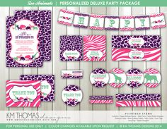 DELUXE Zoo Animals Party Package: Invitation - Thank you cards - Girl Printable Party Decorations  - Safari Animals - Zoo Party - #107a by KMThomasDesigns on Etsy https://www.etsy.com/listing/202014390/deluxe-zoo-animals-party-package