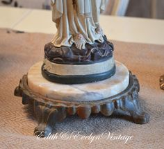 Antique Iron and Marble Pedestal Base Salvage by www.edithandevelyn.etsy.com