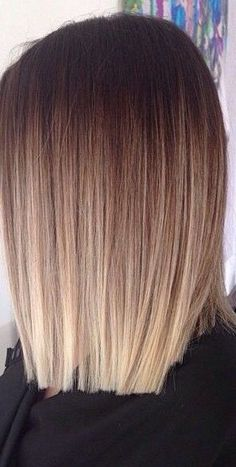 Popular ombre hair color ideas for medium length hair – the ombre straight hair style - lob - long bob