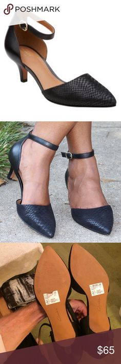 NEW Clarks ankle strap heels Beautiful Clarks black heels. These are new with the original tag sticker on the bottom. They were a floor model though, so while they've never been worn outside, there is ever so faint wear on bottom from being tried in the store. Exude style in an elegant way by teaming up these Clarks Artisan Sage Glamor heels with any attire. Designed with a full grained leather upper, these feature pointed toe and ortholite footbed. fusion of classic and contemporary design…